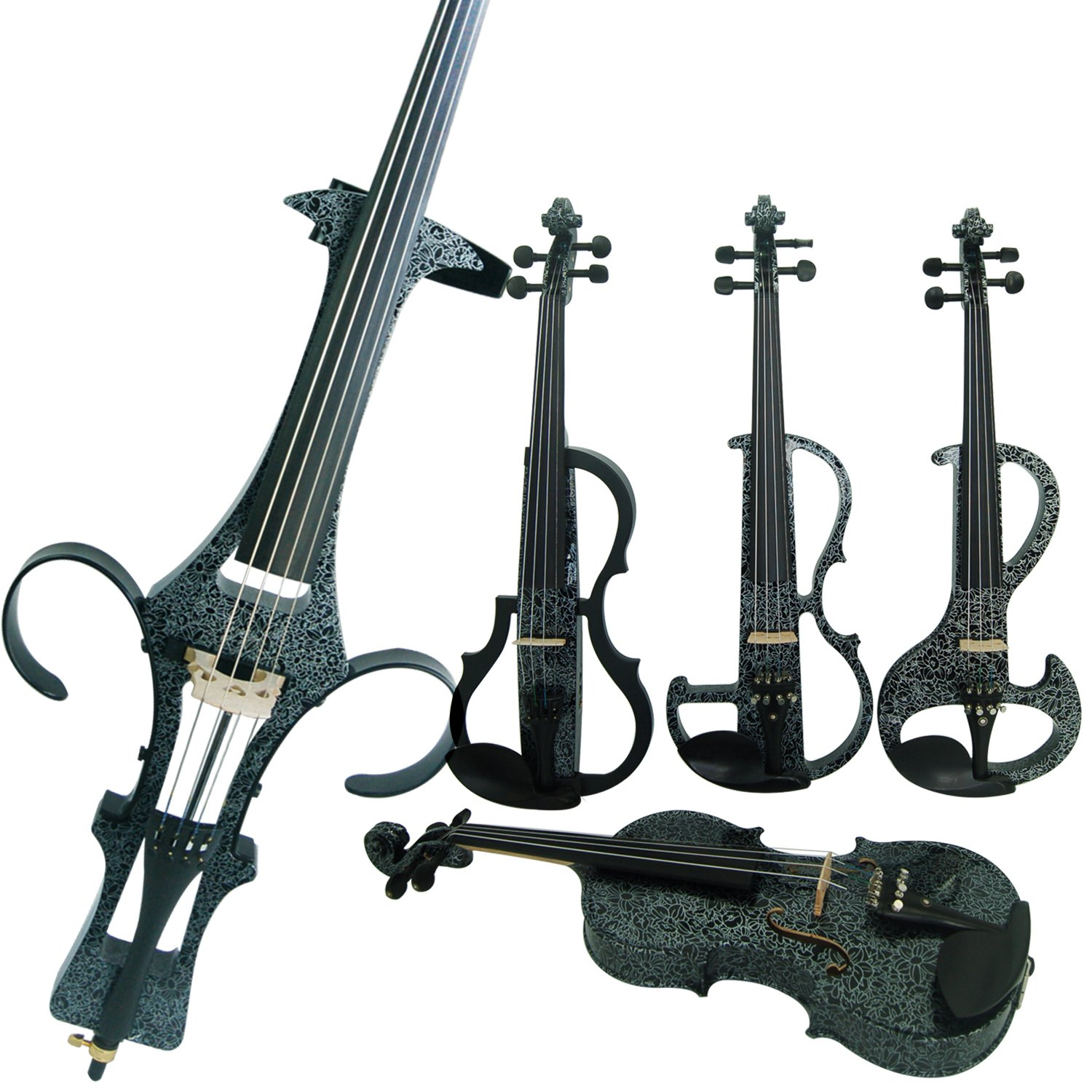 Leeche Premium 4/4 Full Size Solid Wood Electric Cello Violoncello Maple Solid Wood body Ebony Fittings with Bag, Bow, Rosin, Aux Cable, Earphone, Extra set of Strings(Art White Flowers) by leeche