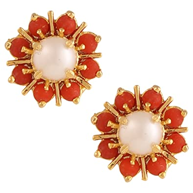 2b5bebdba Archi Collection Traditional Ethnic Gold Plated Jewellery Coral Moti Earrings  Studs for Girls and Women