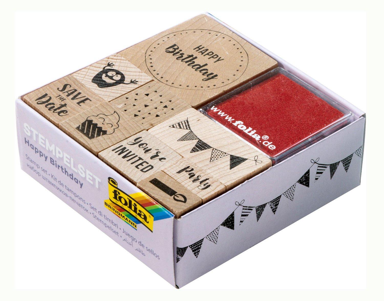 (Happy B077WQRP1W Birthday) - Folia Birthday) 31104 Stamp Set, Multi-Colour Set, B077WQRP1W, 手彫り印鑑職人伝統工芸士遅澤流水:510a63f9 --- m2cweb.com