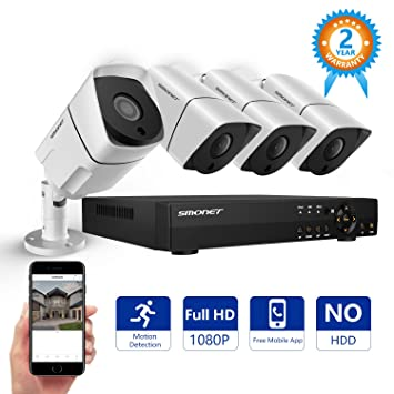 Sistema de cámara de seguridad, smonet 4 ch Full HD 1080p Vídeo CCTV sistema de seguridad ...