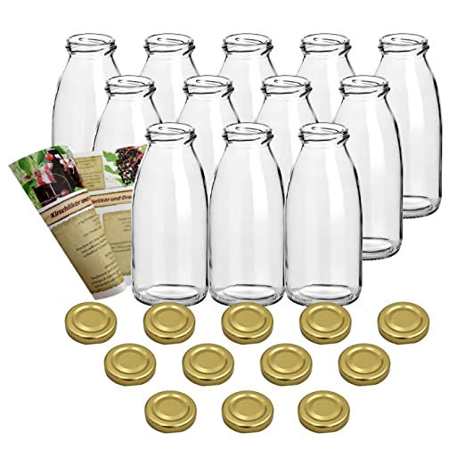 guoveo - 12 botellas de zumo de 250 ml con tapón de rosca dorado ...