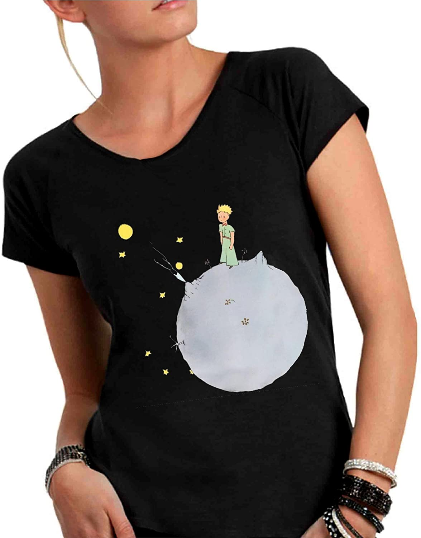 Il Piccolo Principe Made in Italy T-Shirt Donna Girocollo Taglio Vivo 100/% Cotone Pettinato Fiammato