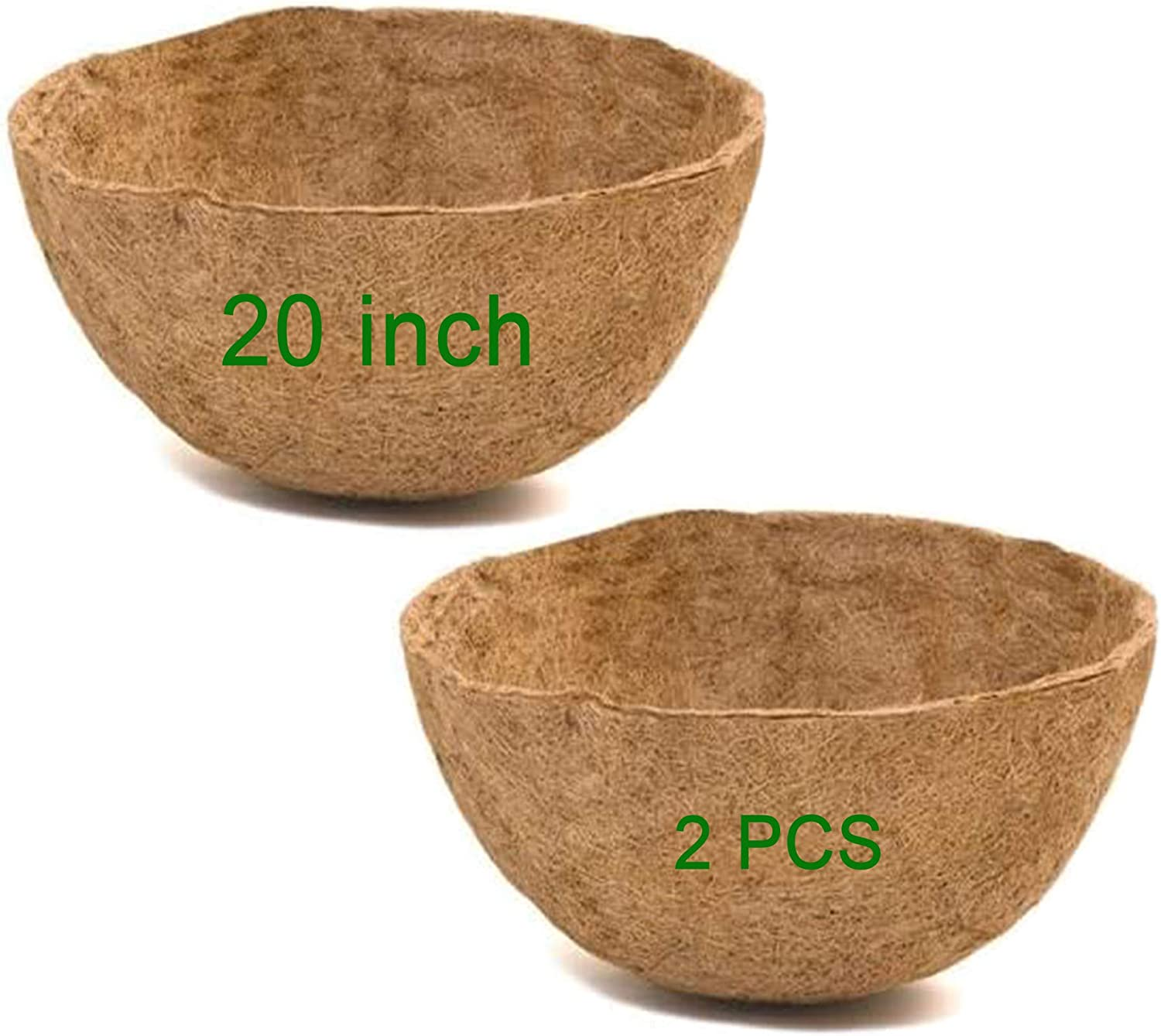 Frillybutts Coco Liners for Planters 20 Inch,2PCS Replacement Coco Fiber Basket Liner for Round Baskets Garden Containers
