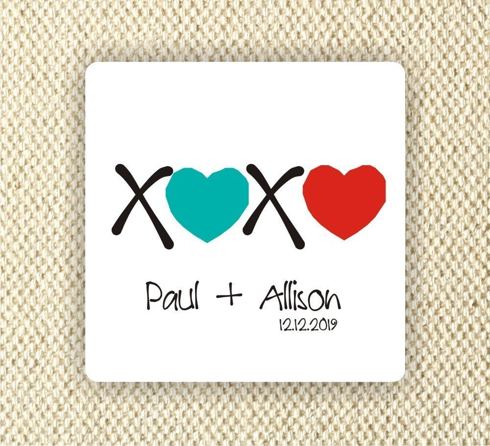 Amazon com 20 2x2 square stickers personalized wedding stickers bridal shower labels anniversary party xoxo handmade