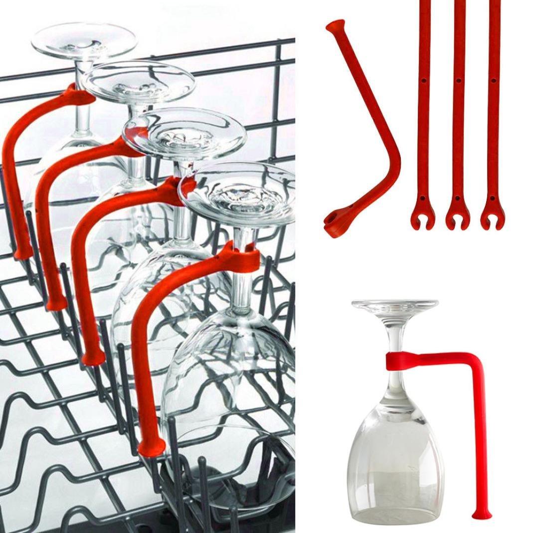 Matoen 4Pcs Wine Glass Dishwasher Silicone Holder Adjustable Goblet Holder Safer Stemware Saver- Flexible Dishwasher Attachment