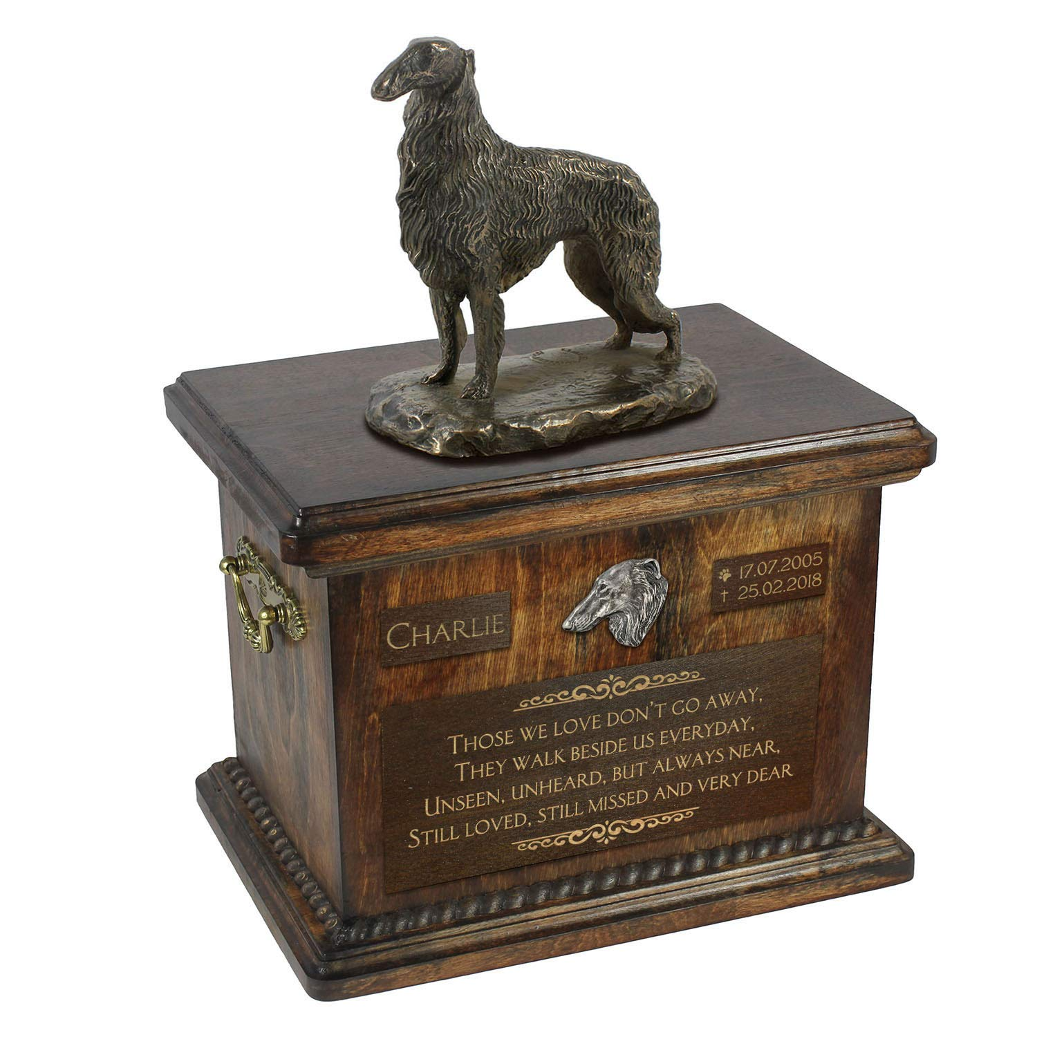 Borzoi standing, Urn for Dog Ashes Memorial with Statue, Pet's Name and Quote ArtDog Personalized