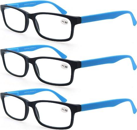 MODFANS Confezione da 3 occhiali da lettura 1.5 per uomo//donna lente trasparente con custodia Cerniera a molla leggera rettangolare