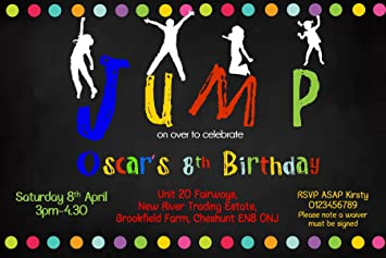 Image Unavailable Not Available For Colour Personalised Trampoline Theme Birthday Party Invitations X10