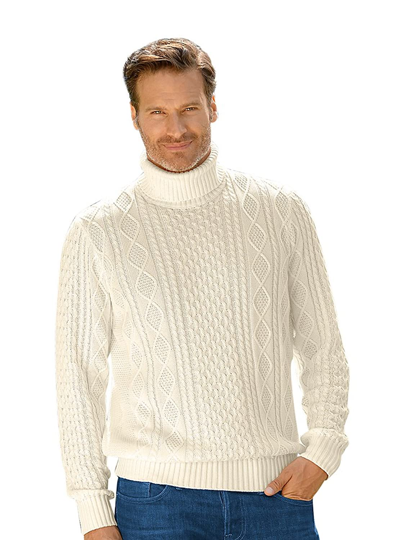1960s Style Men's Clothing, 70s Men's Fashion Paul Fredrick Mens Cotton Cable Turtleneck Sweater $99.99 AT vintagedancer.com