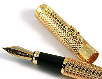 Jinhao Golden Dragon Red Crystal Eyes Fountain Pen with Ink Converter
