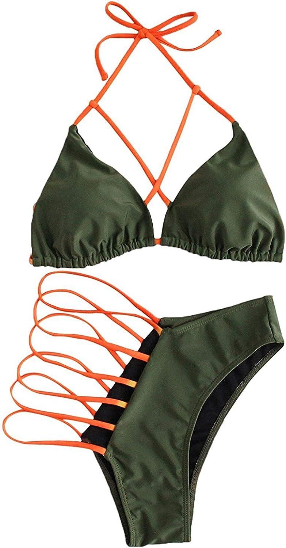 FCHICH Women's Bandage Brazilian 2-Piece Bathing Suit Halter Neck Padded Bikini Set