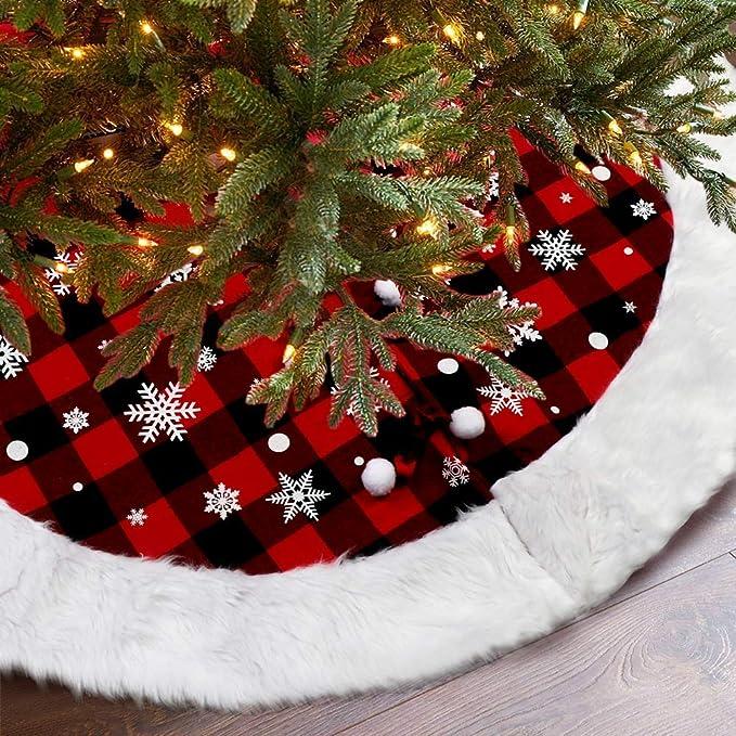 Details about  /White Christmas Tree Skirt Base Faux Fur Xmas Floor R9E5 Decorative New R5E7