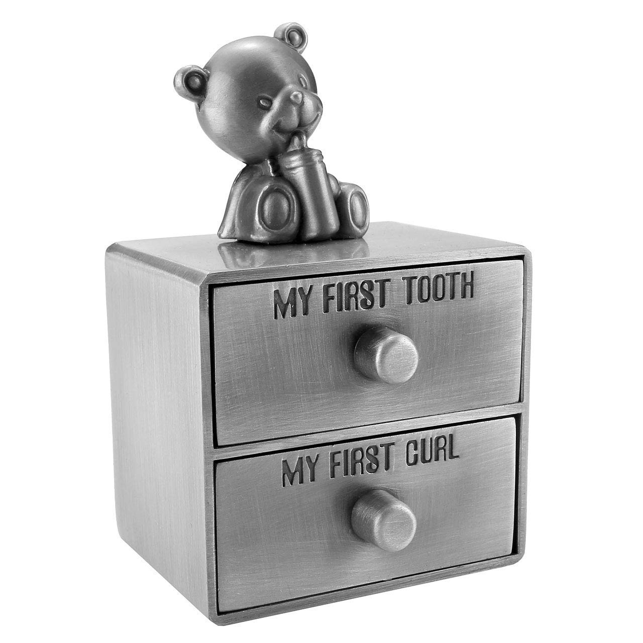 Mogoko Silver Tooth Box Baby First Tooth and Curl Keepsake Boxes Set Kids Teeth Fairy Holder for Boy or Girl