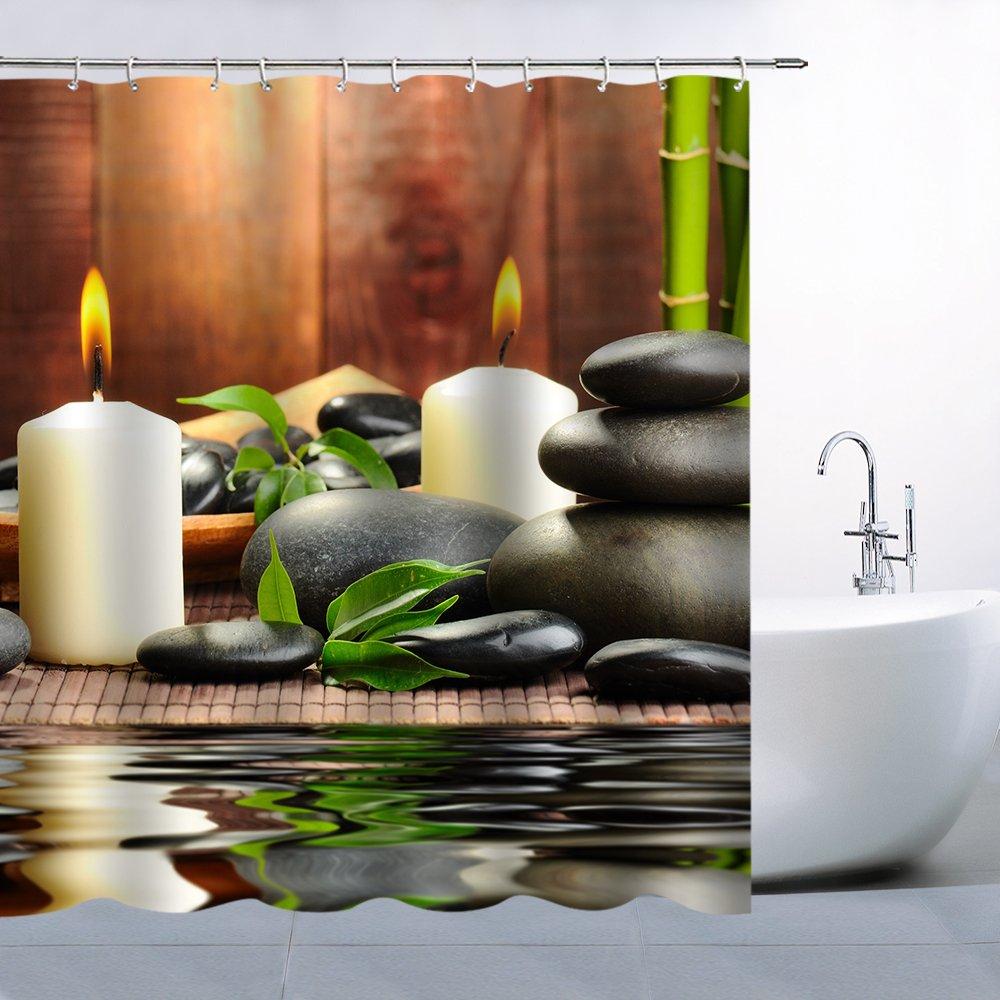 Lileihao Polyester Fabric Shower Curtain Spa Decor by, Mildew Resistant Bathroom Zen Garden Theme Decor View for Bathroom Magical Japanese Design Relaxation Bamboos Candles, Green Yellow