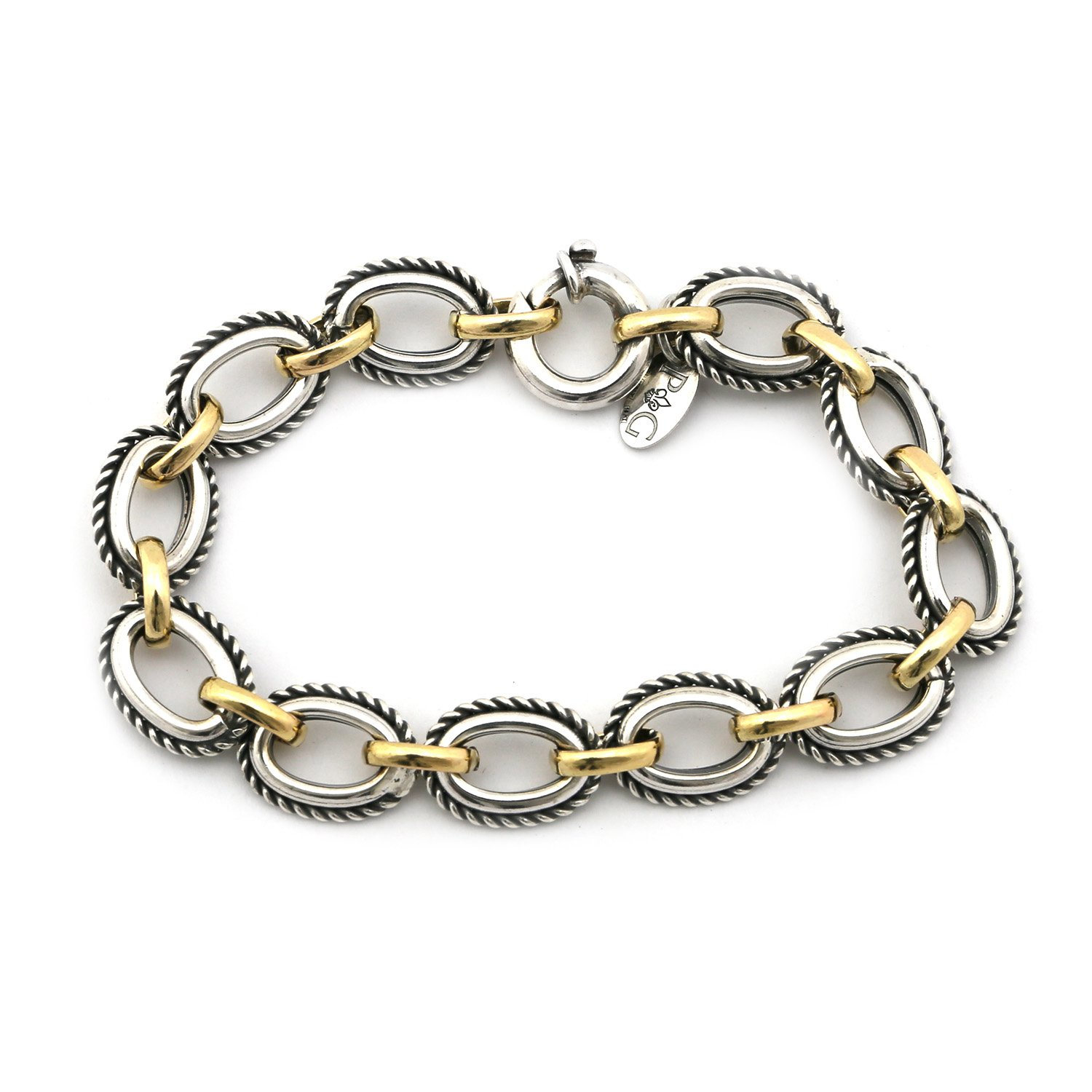 """18k Yellow Gold & Sterling Silver Textured 11mm thick Oval Links Italian Cable 8"""" Chain Bracelet"""