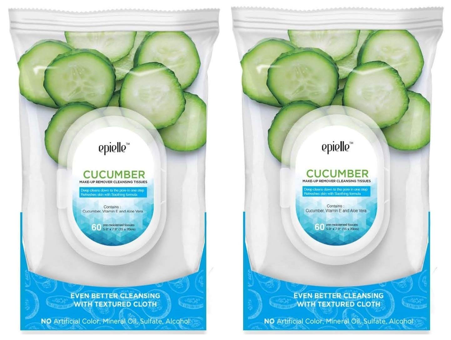 Epielle New Cucumber Facial Cleansing Facial Tissues Wipes Towelettes - 60ct (Sheets) per pack, Twin Pack (Total 2 packs)