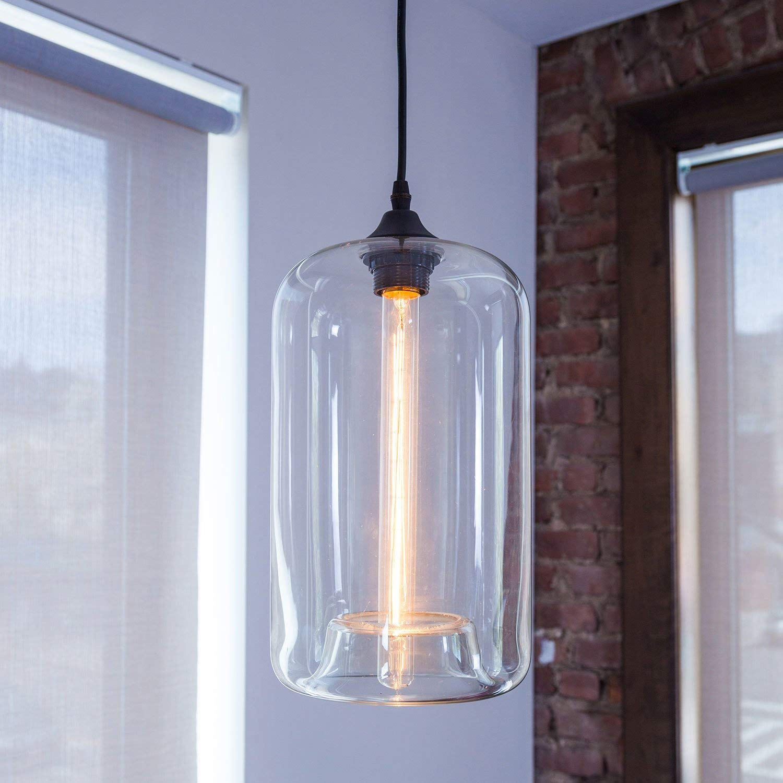 Amazon.com: Lámpara de techo de cristal transparente de 1 ...