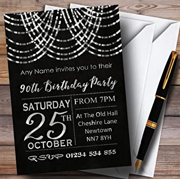 10 X Silver Draped Garland 90th Customized Birthday Party Invites