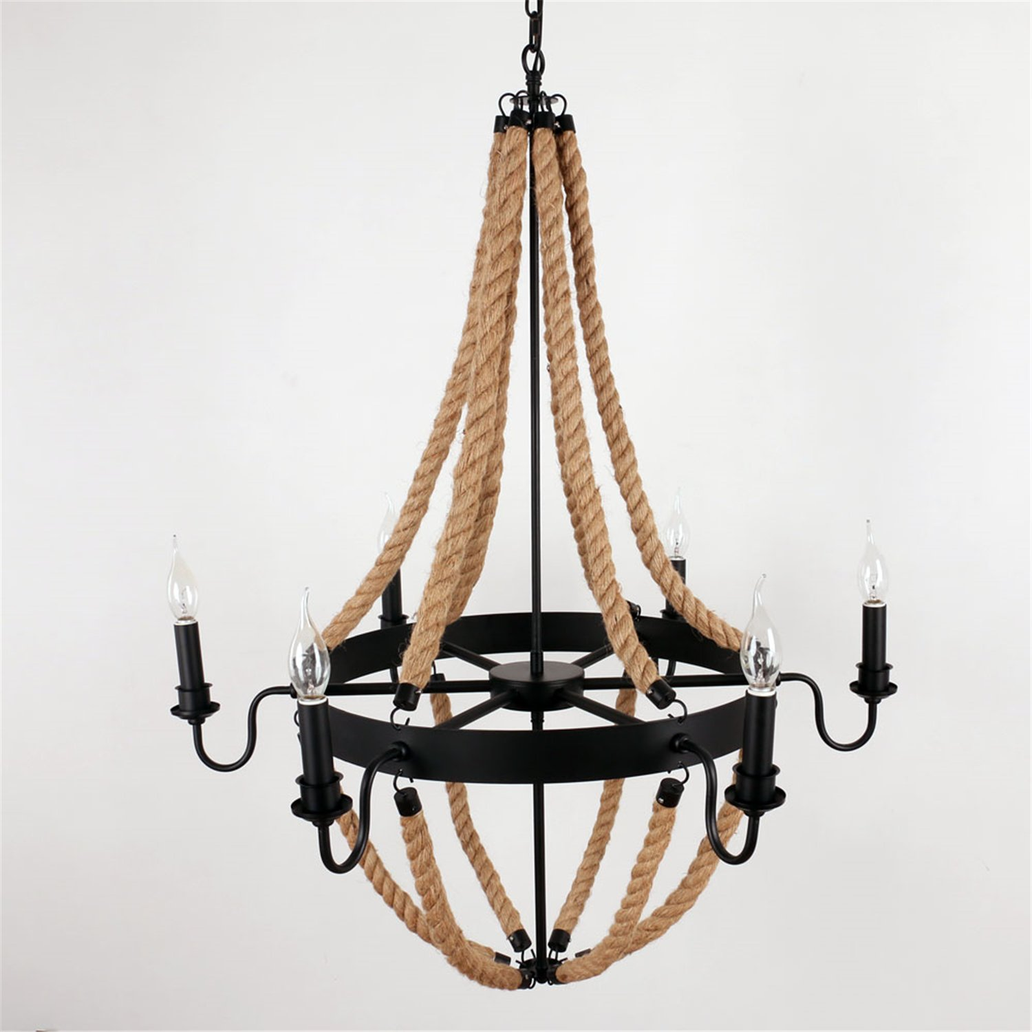 Unitary brand antique metal flaxen and black hemp rope wheel candle unitary brand antique metal flaxen and black hemp rope wheel candle chandelier with 6 e12 bulb sockets 240w painted finish amazon arubaitofo Image collections