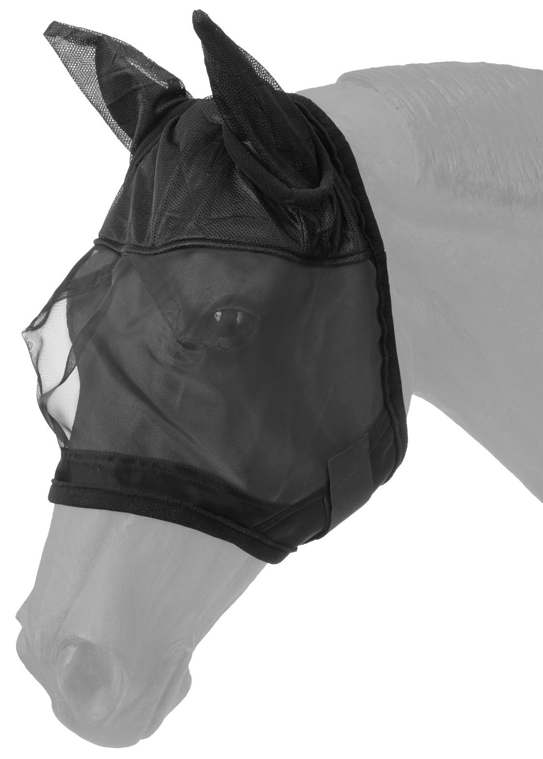Tough 1 Fly Mask with Ears, Black, Horse Size by Tough 1