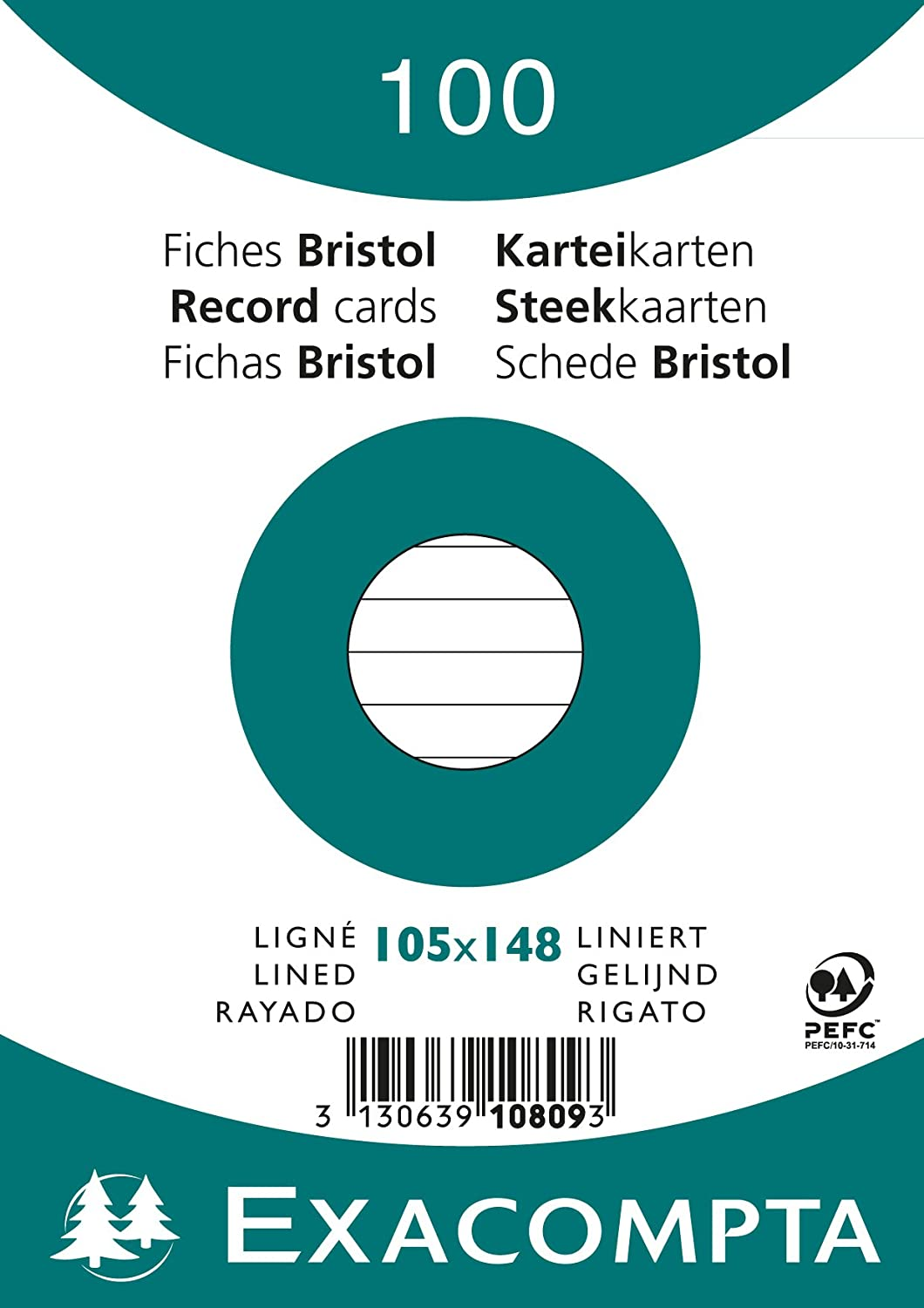 Exacompta Bristol Plain Record Cards A5 Pack of 100 White
