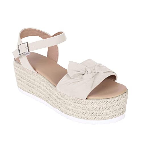 f6d7bbbaeef Womens Bowtie Knot Espadrille Platform Wedge Sandals with Ankle Strap  Walking Dress Shoes