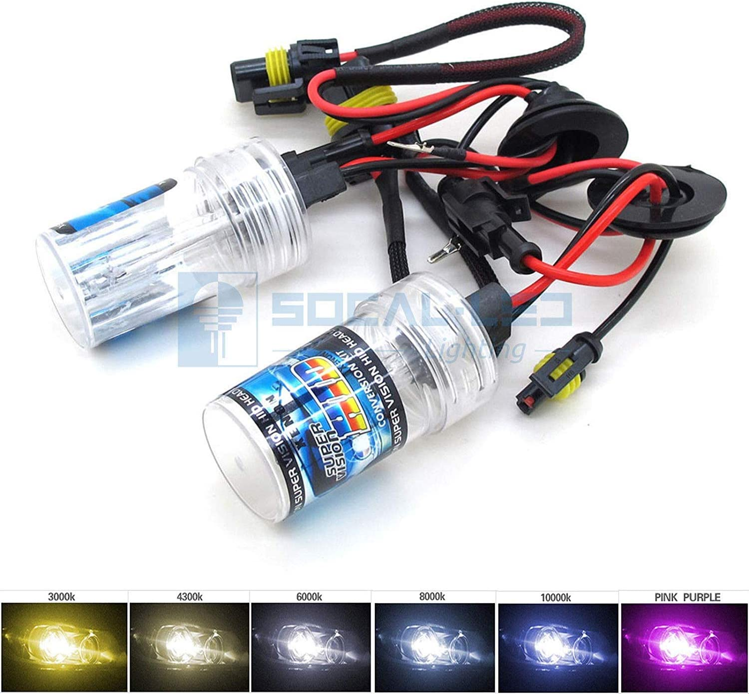2X BULBS FOR AFTER MARKET HID CONVERSION KIT XENON 3000K YELLOW 55W WIRE IN