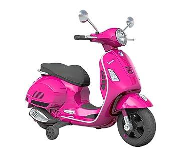 B70592 Moto eléctrica PIAGGIO para niños VESPA GTS con ruedas LED 12V - Fucsia: Amazon.es: Juguetes y juegos