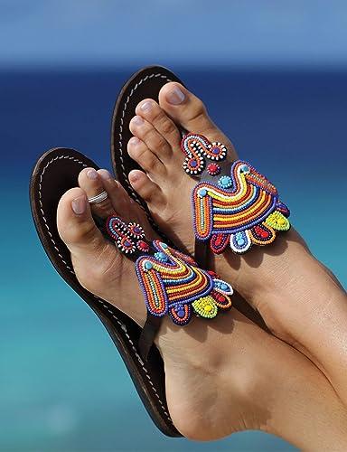14b8ab4a0a39 Amazon.com  GlobalHandmade Reef sandy bead sandal shoes for women ...