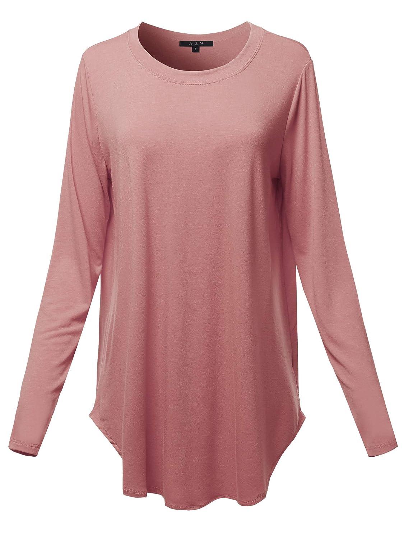 Crew Neck  Dusty pink A2Y Women's Premium Long Sleeve Dolphin Hem Shell Button Henley Top (S  3XL)