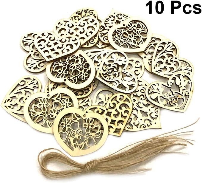 En bois MDF Embellissements Craft Anneau Mariage Colombe Bow cartes Décorations de table
