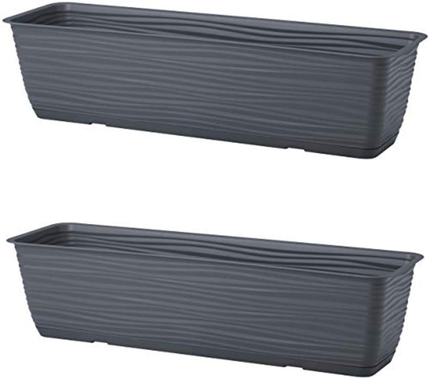 "United Frames and Products Michigan Dunes Planter Box, Herb Garden with Drip Tray, 23"" 2 Pack (ADD-ON: Adjustable Hanging Rail Brackets) (Dark Gray)"