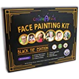 Face Painting Kit for Kids - 32 Stencils, 8 Water Based Face Paint Colors, 2 Brushes, 2 Glitters, 2 Sponges & 2 Applicators -