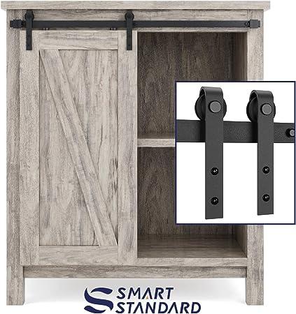 Smartstandard 3ft Cabinet Barn Door Hardware Track Kit Super Mini