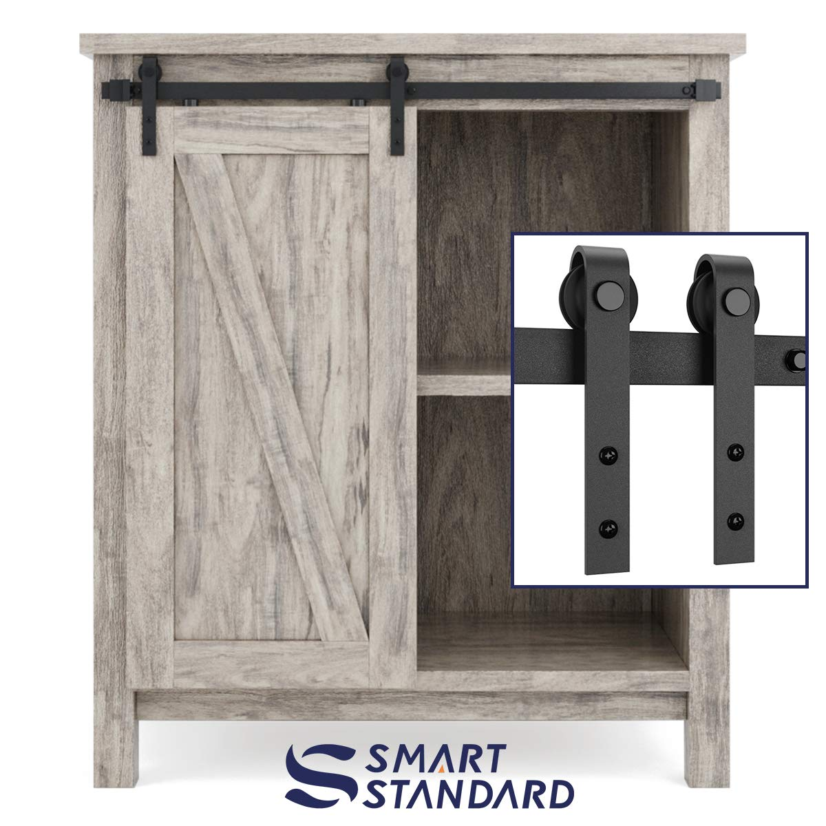 SMARTSTANDARD 3ft Cabinet Barn Door Hardware Kit - Super Mini Sliding Door Hardware - for Cabinet TV Stand Console - Simple and Easy to Install - Fit 18'' Wide Door Panel (NO Cabinet) (J Shape Hanger)