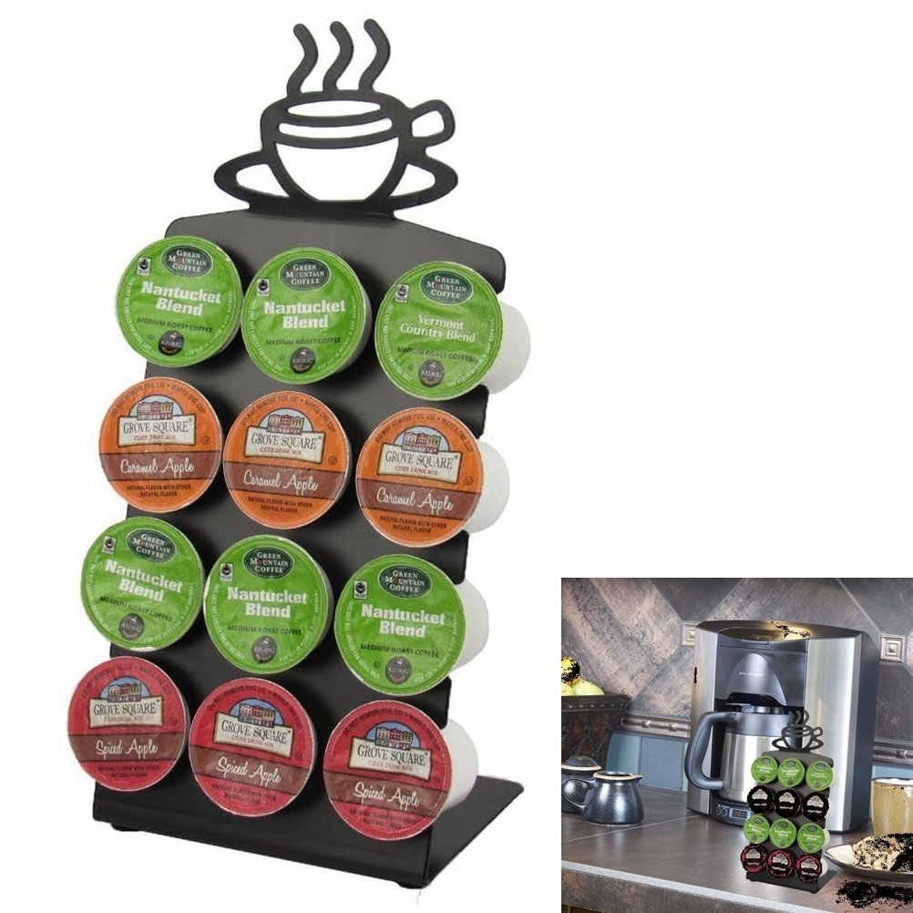 Texas Deluxe Gift Style K-Cup Display Rack 12 Coffee Pods Holder Anti-Skid Rubber - Black