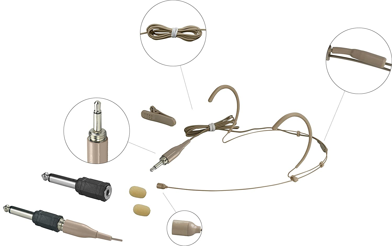 gbbpro Wired auricolari a doppio archetto Boom Mini-XLR, microfono omnidirezionale Sennheiser type 3.5mm plug nero