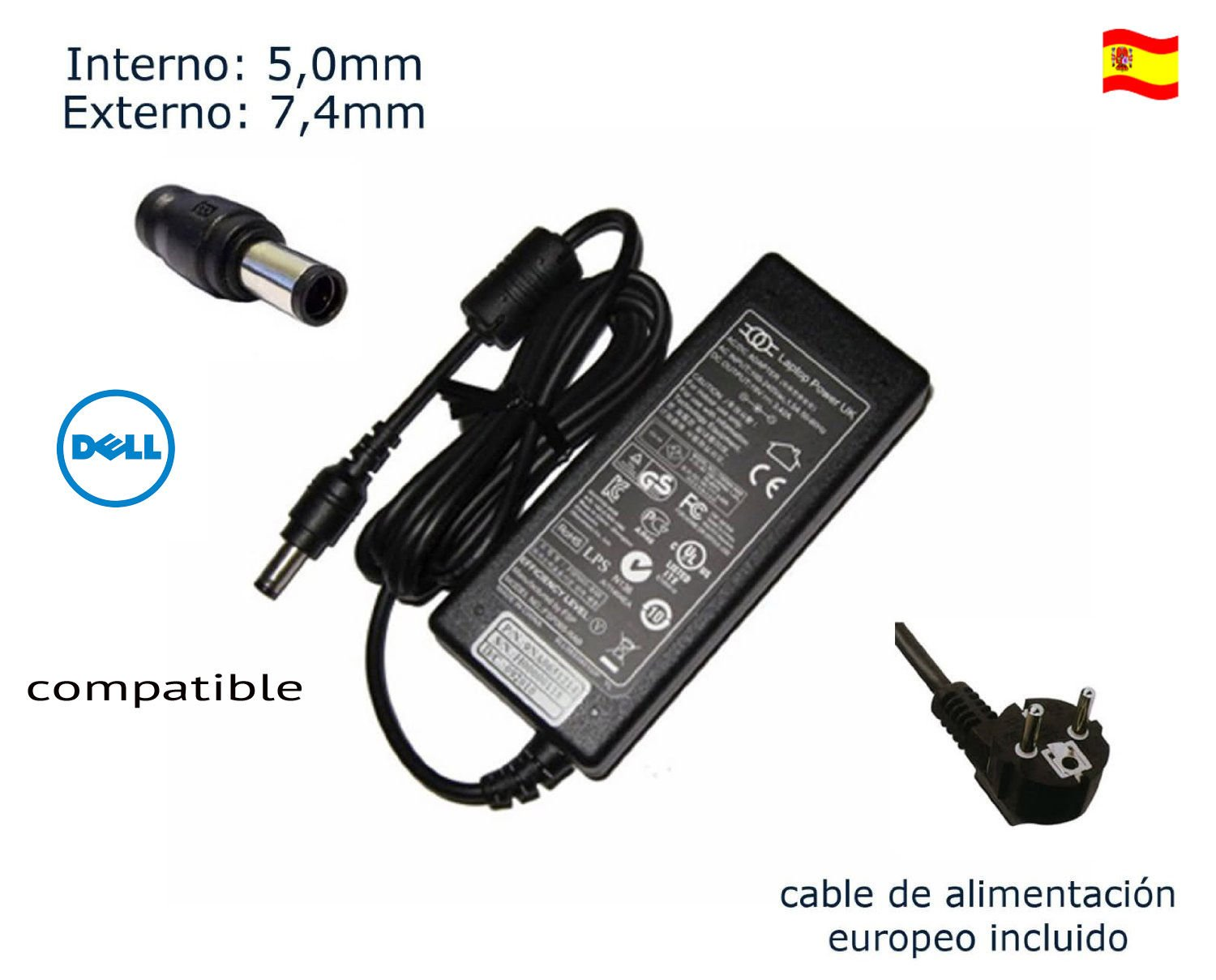 Cargador de portátil Dell Inspiron 1545 1555 1564 1570 1520 1521 1525 1526 Laptop Notebook Battery Charger Power Supply Cord Plug 90 Watt Alimentación, ...