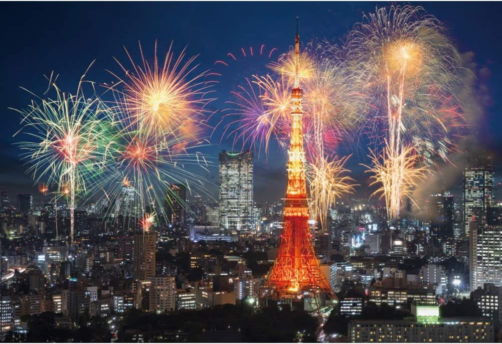 CSFOTO 10x8ft Japan Tokyo Tower Cityscape at Night Backdrop for Photography Happy New Year Firework Celebrating Background Audults Kids Portraits Vinyl Wallpaper