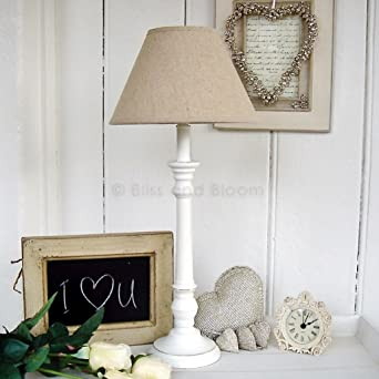 White Wooden Table Lamp Base And Linen Shade H 53cm