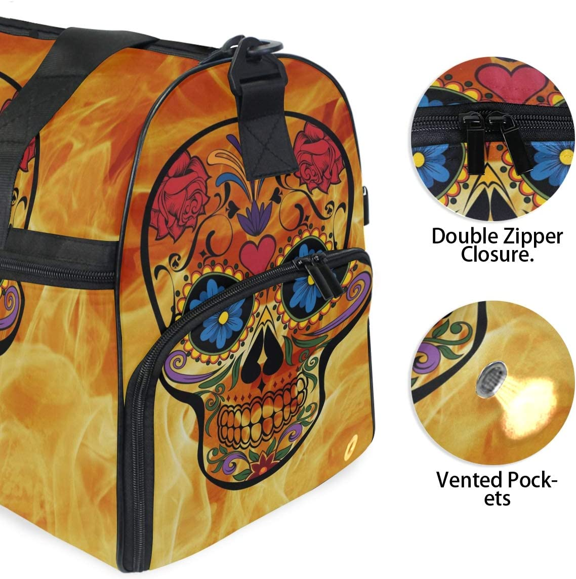 MUOOUM Fantastic Sugar Skull And Fire Large Duffle Bags Sports Gym Bag with Shoes Compartment for Men and Women
