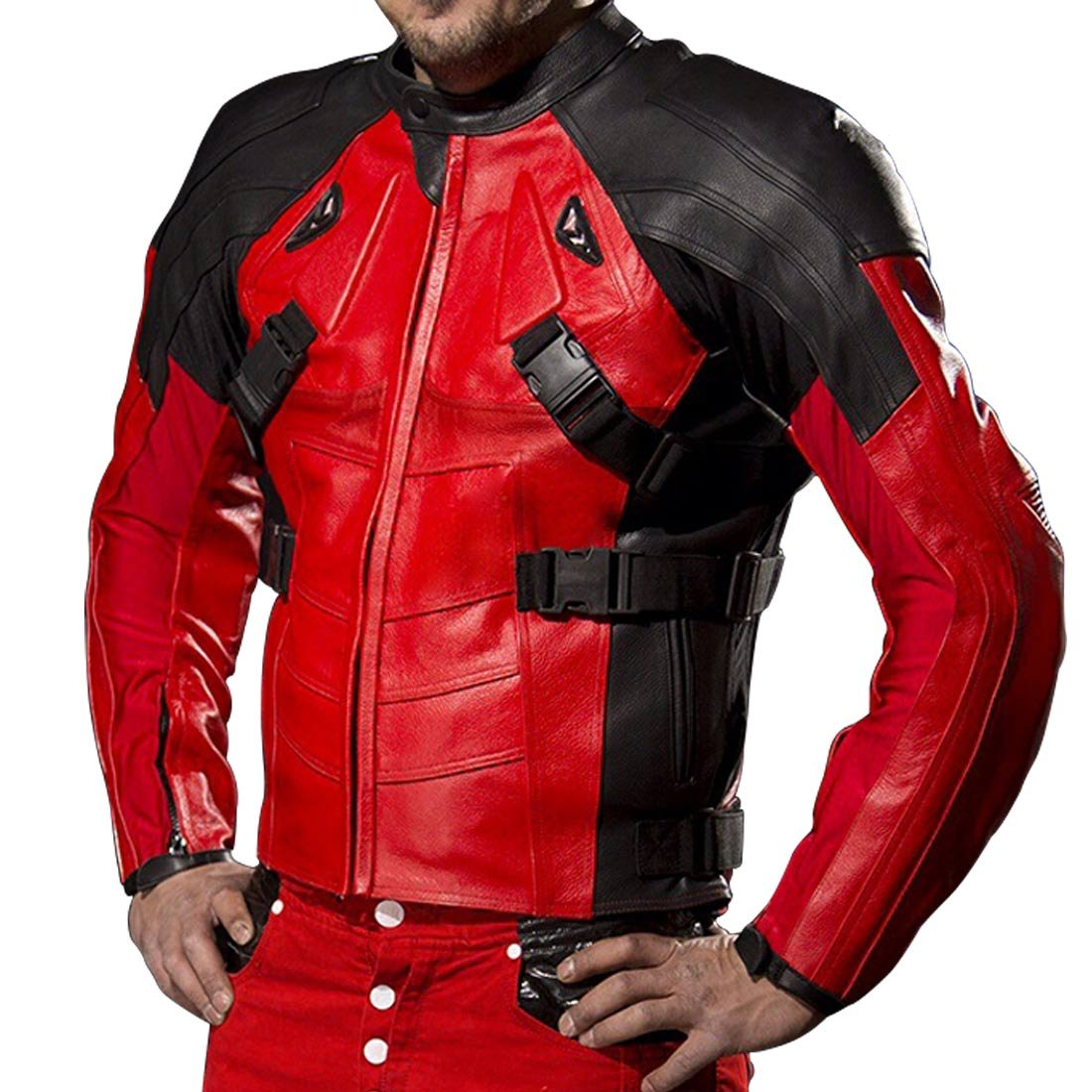 Deadpool Motorcycle Black and Red Ryan Reynolds Biker Paded Mens Leather Jacket The Custom Jacket