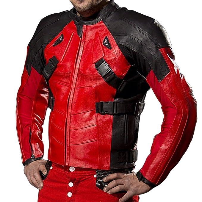 9eb352bba Deadpool Motorcycle Black and Red Ryan Reynolds Biker Paded Mens ...