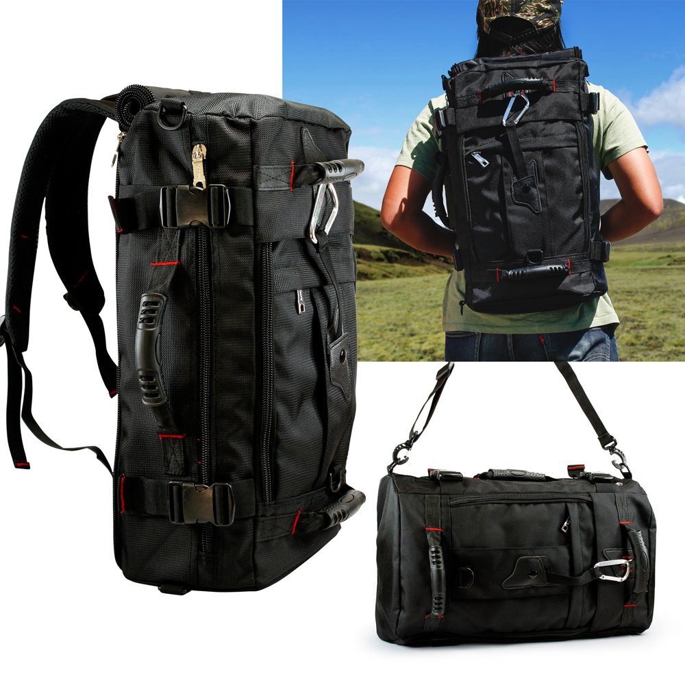 Oct17 40L XL Hiking Backpack Waterproof Men/Women Lightweight Daypack Day Overnight Travel Bag Tactical Survivor Large Black For Camera Laptop Military Emergency Gear Black