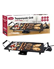 Quest Large Electric BBQ Non-Stick Teppanyaki Table Top Grill Cooking Plate with Adjustable Thermostat