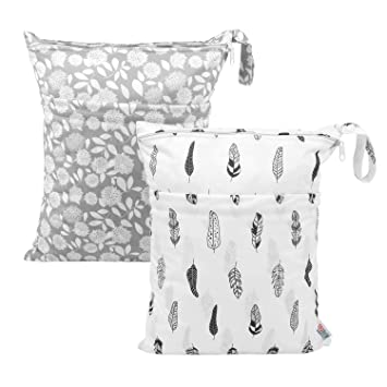 Soiled Baby Items,Yoga,Gym Daycare Pool Beach Cloth Diaper Wet//Dry Bags Waterproof Reusable Pouch with Two Zippered Pockets for Travel
