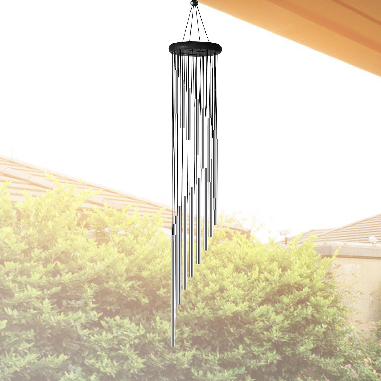 Large Wind Chimes Outdoor - 35'' Unique Amazing Grace Wind Chimes with 18 Roots Aluminum Alloy Tubes and Wood Design, Inspirational Collection for Outdoor Patio Backyard Home Decor Sliver