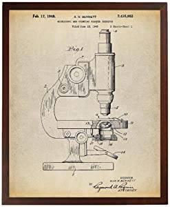 Turnip Designs Antique Microscope Patent Poster Art Print Pharmacy Gift Science Decor Biology Teacher Technology Art Chemistry Science Teacher Gift TNP42
