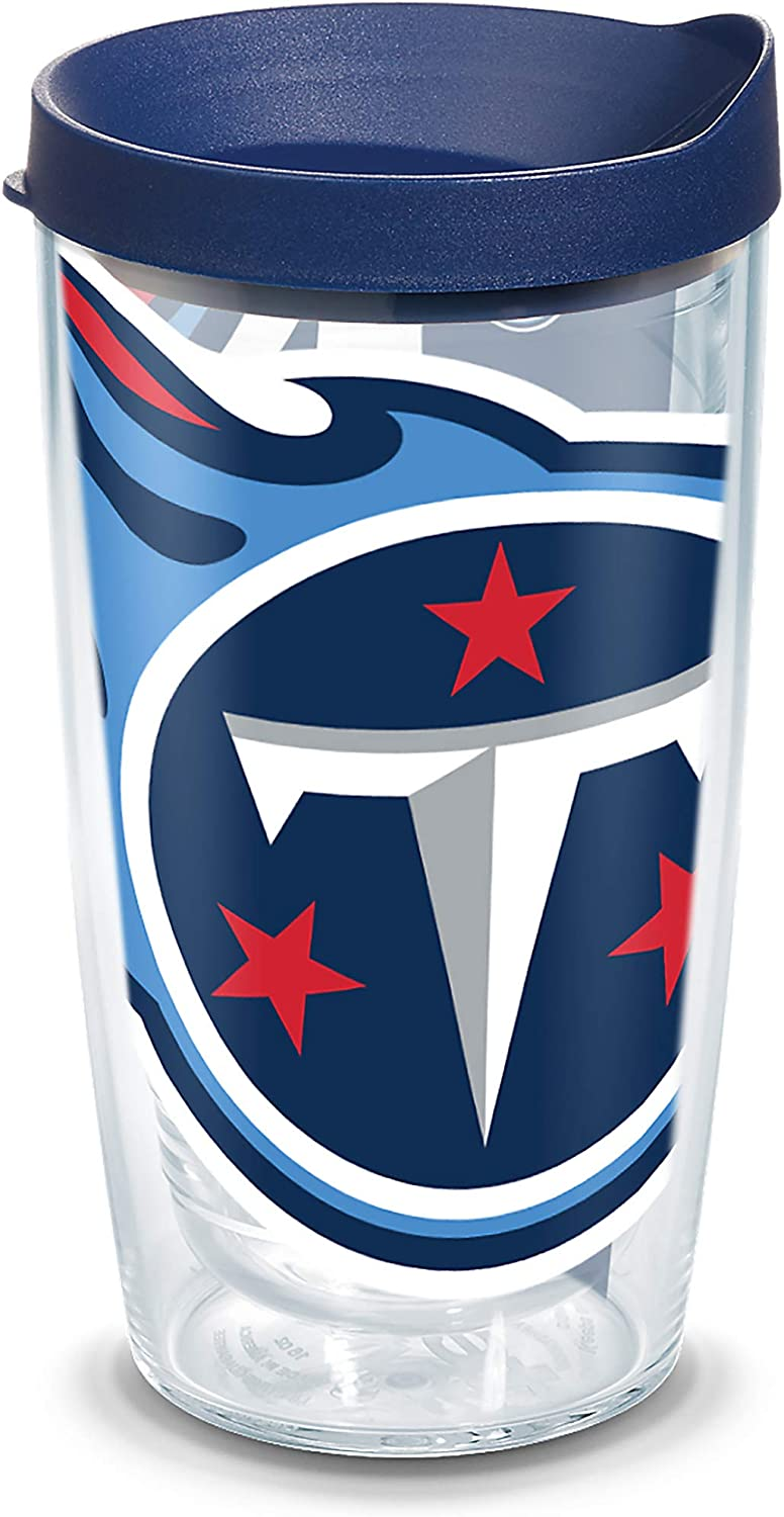 Tervis 1100082 NFL Tennessee Titans Colossal Tumbler with Wrap and Navy Lid 16oz, Clear