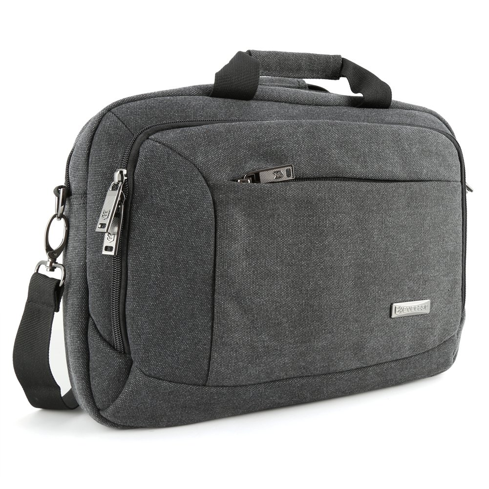 13.3 inch Laptop Messenger Bag, Evecase 13.3'' - 14'' Canvas Messenger Bag - Dark Grey w/Handles, Shoulder Strap for laptops, Samsung ultrabooks, Apple MacBook, Microsoft, Sony Tablet PC